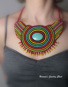 Ethnic Necklace Bead Embroidered Necklace African by Herinia, $66.00