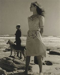Louise Dahl-Wolfe - Young Lauren Bacall on the beach. 1943