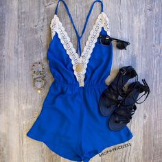 Love Quest Romper in blue, Navi Necklace & our Jeta Gladiator Sandals!  #ShopPriceless.com ⬅️