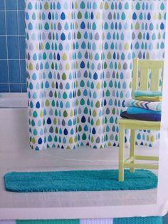 Circo Raindrops Shower Curtain Fabric Blue Green Gray New Boys Girls Kids