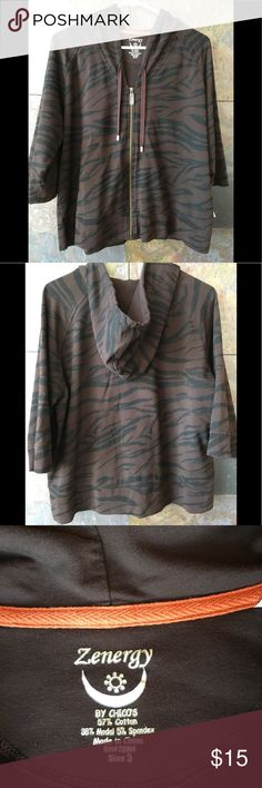 """Zenergy zippered warm up jacket. Chico's 3 Brown and black tiger stripe print. Raglan sleeves; 23.25"""" pit to pit, 23.5""""at bottom; 14.5"""" pit to bottom; 10.5"""" pit to sleeve bottom/3/4 sleeve; zipper 16.5""""; 23"""" neck to bottom; 20.5"""" neck to bottom sleeve; hooded EUC. Large, check Chico's size chart on line or go by measurements. Chico's Jackets & Coats Utility Jackets"""