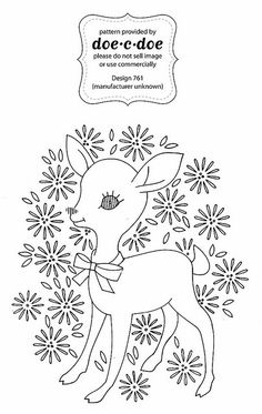 cute deer in flowers outline for embroidery
