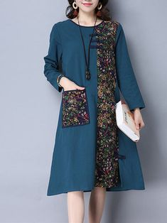 Gracila Floral Printed Patchwork Long Sleeve Pocket Women Vintage A-Line Dresses