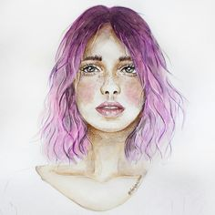 Girl with ombre hair black to violett. Illustration by farbenzirkus