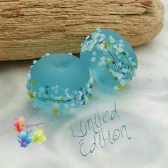 Lampwork Perlen frische Brise blau blühen von GlitteringprizeGlass