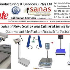 Route Calibration Services a Sanas Accredited Calibration Laboratory for more than 20 Years which has been servicing our clients, since our induction in 1972 and understand the sustainability of businesses in the modern world. Providing services that are both efficient and long lasting solutions to your Company. Contact: +27 (11) 615-7068/88 JHB or +27 (12) 327-7312/14 PTA E-mail: loadcell.manufacturing@gmail.com or sales@routecalibration.co.za