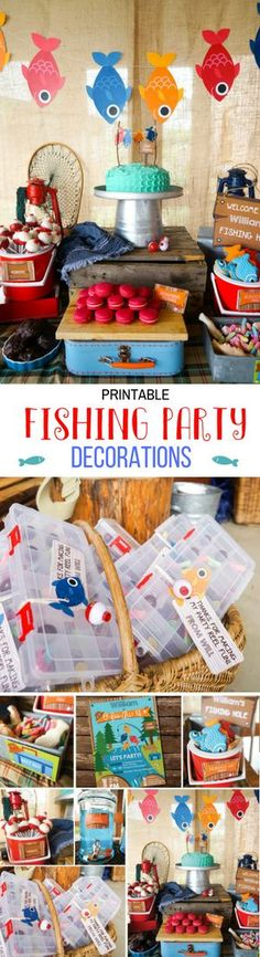 What a cute birthday party theme! Fishing Party Decorations - Boys Fishing Birthday Party Decor - Gone Fishing Party Decorations - Instant Download #ad #affiliate