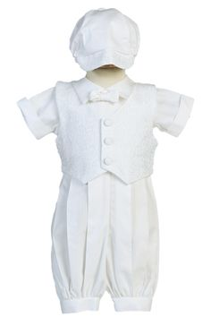 59c9c7a73 Polycotton Baptism Romper w. Swirl Embroidered Vest Newborn to 18m –  Rachel's Promise