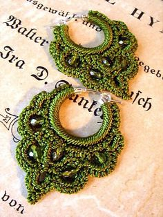 Olive Green Beaded Crochet Sterling Silver Hoop Earrings