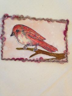 Fabric postcard thread sketching appliquéd old by SuzanneInOhio