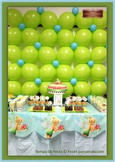 Dessert Table and Balloon Backdrop at a Tinkerbell Party #tinkerbell #party