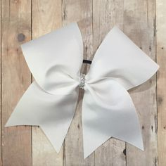 Classic, White Cheer Bow, Simple Bow, Cheap Cheer Bow, Bling, cheerleader, cheerleading, solid color bow - pinned by pin4etsy.com