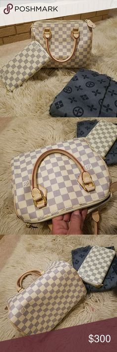 NOT SELLING*TRADES ONLY LV Speedy 25,wallet,scarf **TRADES ONLY **I WILL NOT SELL ANY OF THIS.. IF U DNT UNDERSTAND Y U CAN FIND MY info as 1st comment-ill explain ;) New Damier azure speedy25 no clue if leather.appears to b. Very nice bag.no1 culd tell unless inspecting it. Matching full sz zippy wallet & large pashmina scarf with monogram logo Given to me for my lil niece to play with.she has an auth mini so really no need for this Would really like to trade for a neverfull damier Ebene pm…