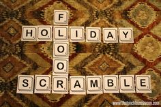 Fun easy free printable large sized scramble scrabble game for the holidays or any time.