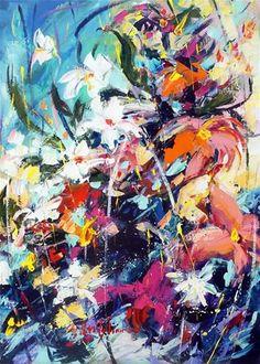 """Blooms Symphony"" - Original Fine Art for Sale - © Mikko Tyllinen Acrylic Flowers, Acrylic Colors, Acrylic Paintings, Fine Art Gallery, Art For Sale, Bloom, Projects, Log Projects, Blue Prints"