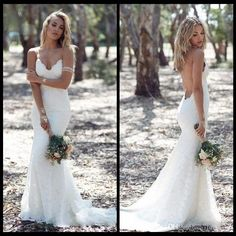 Buy wholesale sexy backless wedding dresses mermaid spaghetti strap sexy full lace wedding dress cheap sweep low back boho white bridal gowns which is at a discount now. bridallee has guaranteed its quality. 2015 wedding dresses, bridal gown and bridal shop are all in the list of superb dresses.