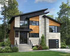 This charming two-storey house with sloping roof is ideal for a family. It is 36 feet wide by 38 feet deep, and offers a 1,674 square-foot living area in addition to a 266 square-foot one-car garage. <br/> With 756 square feet of living space and 9-foot high ceilings, the ground floor features a powder room that is also used as a laundry room, and an open area that includes a laboratory kitchen with an island and a pantry, as well as a dining room and a living room overlooking the...