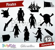 Pirates Silhouettes, SVG Pirates, Instant Download, svg, png, jpg and eps file types included, PS-319.