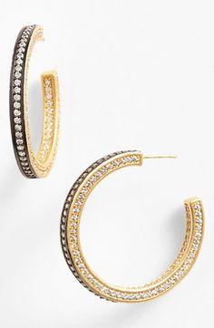 Women's Freida Rothman 'Classics' Pave Inside Out Hoop Earrings Gold/ Gunmetal One Size