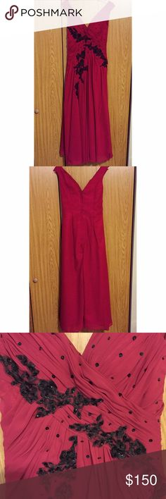 SUNDAY SALE! Red Prom Dress Beautiful off the shoulder red dress that has never been worn! Black embellishments. Waist: 26 bust: 33. Would be perfect for 5'5 height worn with heals Dresses Prom