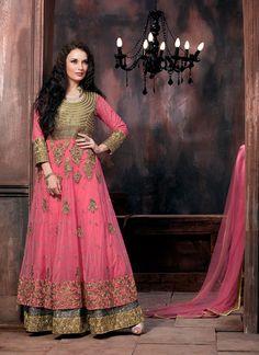 Pink Net Indo Western Anarkali Suit 61542
