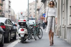 Candela Novembre wearing Jimmy Choo Sandals at MFW.