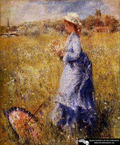 Girl Gathering Flowers  Pierre Auguste Renoir