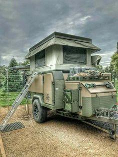 Conqueror Off-road camper trailer with bundutec roof top tent Off Road Camping, Truck Camping, Tent Camping, Glamping, Camping Tips, Camping Store, Outdoor Camping, Indoor Outdoor, Small Camper Trailers