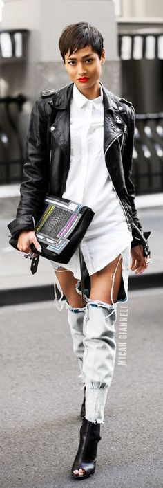 so hot / Micah Gianelli / fashion / style / denim / boyfriend jeans / white on black / street style