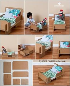 dolls bed diy cardboard - Google Search Diy Furniture Nightstand, Diy Cardboard Furniture, Cardboard Toys, Doll Furniture, Office Furniture, Diy For Kids, Crafts For Kids, Diy Karton, Doll Beds