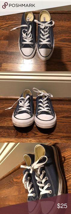Converse These gently used navy blue converse are super stylish with their pure white laces and navy blue canvas outside. They go with anything and everything. Converse Shoes Sneakers