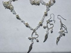 white pearl beads heart and wings necklace and earring set hand made #Handmade