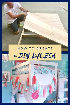 DIY Rustic Loft Bed for Kids | Jennifer Allwood Home | Design and build a space saving loft bed with plywood and wood for a unique and fun kids room! #loftbed #kidsroom #DIY Cool Art Projects, Diy Projects For Kids, Painting Ladders, Small House Decorating, Decorating Tips, Build A Loft Bed, Build A Frame, Rustic Loft, Fun Diy Crafts