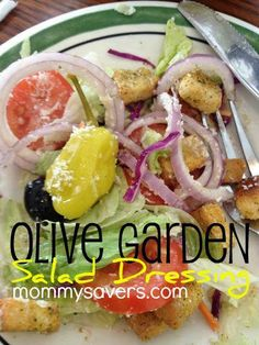 Olive Garden Salad Dressing c mayonnaise c white vinegar 1 tsp vegetable oil 2 T corn syrup 2 T Parmesan cheese 2 T Romano cheese tsp garlic salt tsp Italian seasoning tsp parsley flakes 1 T lemon juice Food For Thought, Think Food, I Love Food, Good Food, Yummy Food, Great Recipes, Favorite Recipes, Cooking Recipes, Healthy Recipes