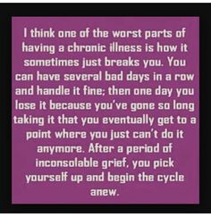Yesterday I completely broke down and sobbed because of my chronic pain. I have 7 bad discs, degenerative disc disease, plus some… Fatigue Causes, Chronic Fatigue Syndrome Diet, Chronic Fatigue Symptoms, Chronic Migraines, Chronic Kidney Disease, Autoimmune Disease, Chronic Illness, Chronic Pain, Rheumatoid Arthritis