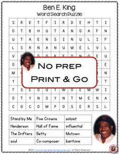This resource is not your average word search! SUITABLE for middle school - Jr. high school general music students. It has a research/written activity based on the words hidden in the word search. Your students are not merely finding words in the word search - they are also learning about BEN E. KING by researching what these words had to do with his music and life. ♫ ♫ #mtr #musicteacher #musiced #musiceducation Music Teacher Resources