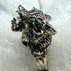 Sterling Silver Wolf Head Ring natural Emerald by PaulTheJeweler, $109.00