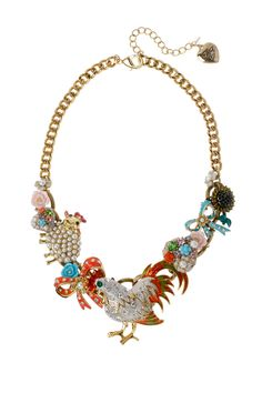 Betsey Johnson  - Rooster Charm Necklace...how spring!