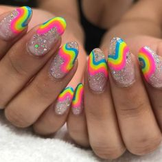 40 Stylish Nail Art Designs 2019 Amazing Rainbow Nails Designs Ideas Wear In This Summer Nails Elegant Rhinestones Coffin Nails Designs - New Ideas Bright Nail Designs, Short Nail Designs, Nail Art Designs, Rainbow Nails, Neon Nails, My Nails, Bright Gel Nails, Bright Nail Art, Bright Nails For Summer