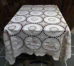 "Gorgeous Old Vintage Antique Crochet Tablecloth 50x58"" Good Condition"