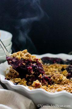 Blueberry Lemon-Thyme Cornmeal Crisp #GlutenFree | Vanilla And Bean