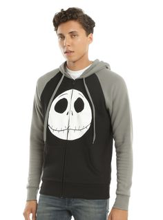 The Nightmare Before Christmas Jack Face Contrast Hoodie | Hot Topic