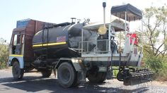 Bitumen spraying by Atlas bitumen pressure distributor.  #ConstructionEquipment #RoadConstruction #RoadConstructionEquipment