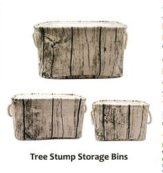 Tree stump storage bins for a rustic enchanted forest baby nursery theme of kids room.  Unisex and gender neutral natural organization ideas inspired by Mother Nature.