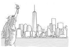 Free hand sketch of new york city skyline with statue of liberty Nyc Skyline, New York City Skyline, Skyline Art, Manhattan Skyline, Nyc Drawing, New York Drawing, Drawing Sketches, Pencil Drawings, Landscape Drawings