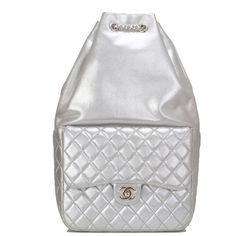 Pre-Owned Chanel Silver Metallic Lambskin Large Backpack ($5,025) ❤ liked on Polyvore featuring bags, backpacks, silver, chanel, strap backpack, colorful backpacks, multi color backpack and knapsack bag