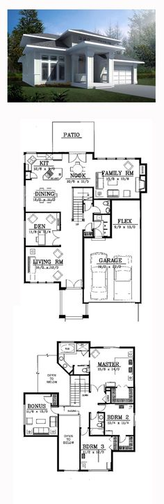 Prairie House Plan 91819 | Total Living Area: 2503 sq. ft., 3 bedrooms and 2.5 bathrooms. #prairiehome by SyndiC
