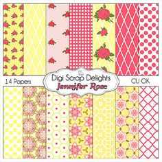 Jennifer Vintage Rose Digital Papers Cath by DigiScrapDelights, $4.00