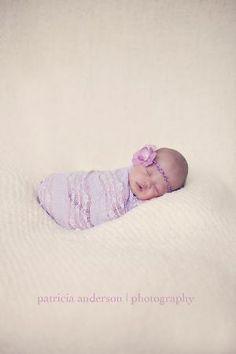 Lavender Stretch Lace Newborn Wrap and Halo Set by PetuniaandIvy