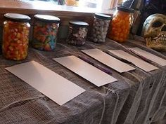 Used jars filled with candy for a guessing game. Sometimes Creative: Halloween Party halloween creative Halloween Party Activities, Halloween Scavenger Hunt, Halloween Activities For Kids, Halloween Food For Party, Diy Halloween Decorations, Halloween Kids, Halloween Treats, Haloween Ideas, Happy Holloween